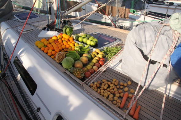 de voorraad vers fruit en groente na het wassen