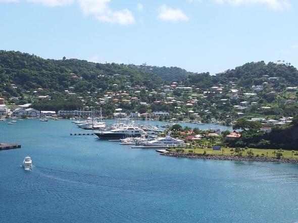 Zicht op Port Louis vanaf Fort George