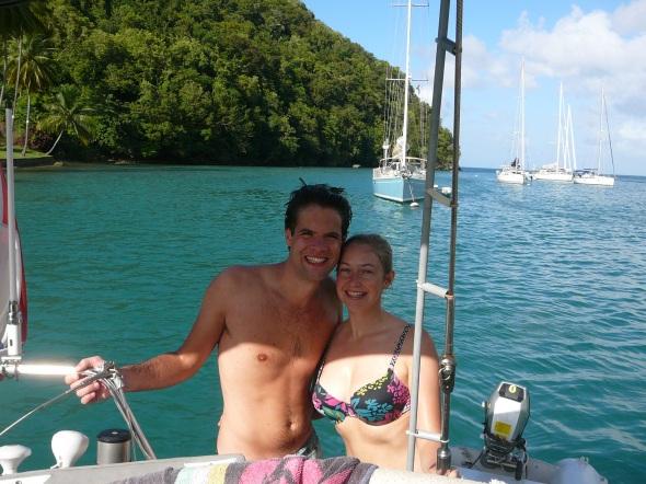 twee gelukkige mensen in Marigot Bay