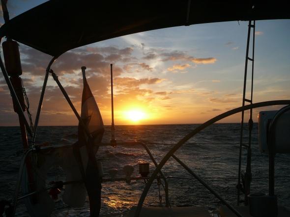 zonsopgang tijdens de trip naar Virgin Gorda