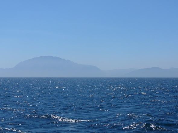 de Afrikaanse kust aan de overkant van Gibraltar